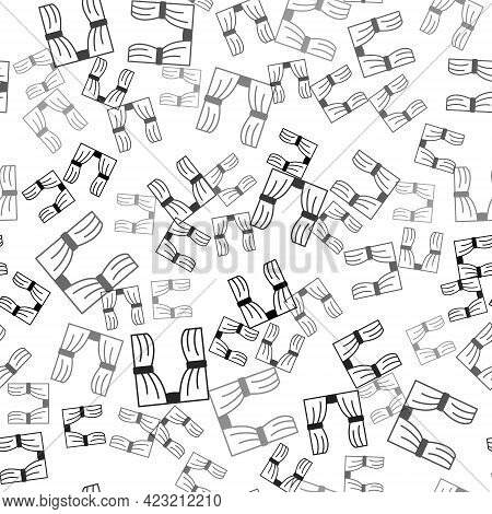Black Circus Curtain Raises Icon Isolated Seamless Pattern On White Background. For Theater Or Opera
