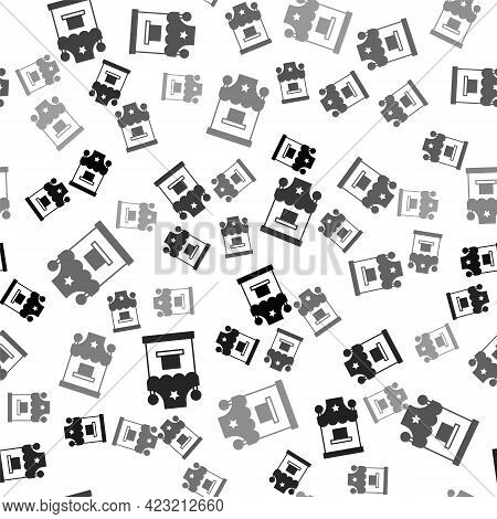 Black Ticket Box Office Icon Isolated Seamless Pattern On White Background. Ticket Booth For The Sal