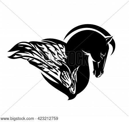 Pegasus Winged Horse Profile Head - Side View Mythical Animal Black And White Vector Design