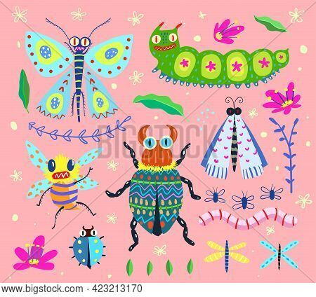 Bugs Butterfly Moth And Caterpillar, Different Insects Bugs And Fly Collection In Hand Drawn Style,