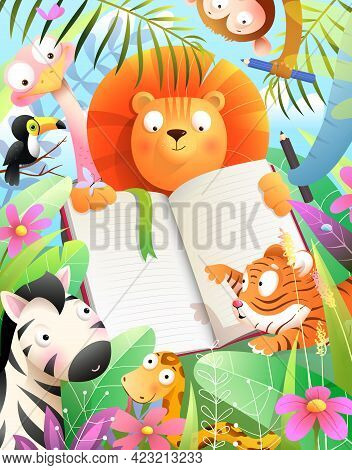 Animals Drawing In An Empty Notebook In Jungle Forest, African Baby Zoo At Montessori School, Studyi