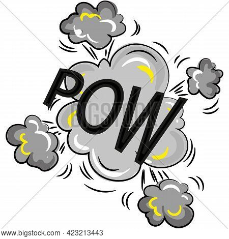 Pow Explosion With Smoke Cloud Cartoon Vector