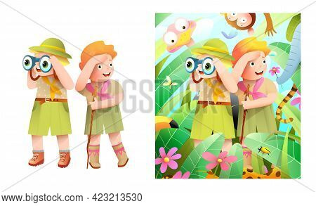 Little Children Boy And Girl Scouts On Adventure Exploring African Jungle And Animals. Jungle Forest