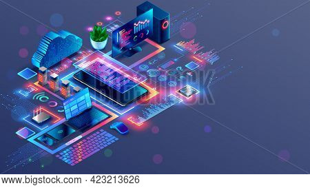 Programming And Coding Of Program Product Or Code. Workplace Of Computer Software Developers. Techno