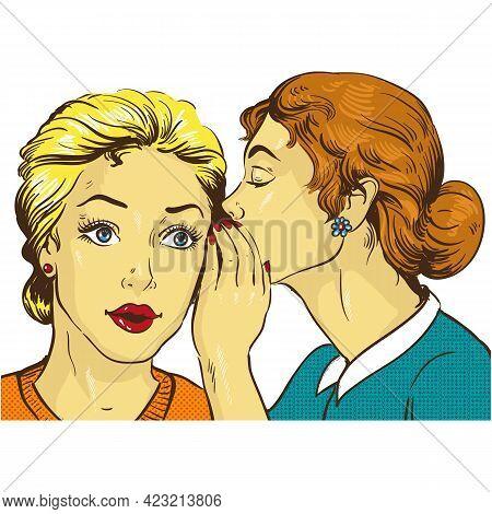 Woman Friend Gossip Pop Art Comic Cartoon Vector Icon