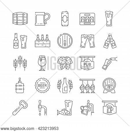 Brewery Icons Collection. Beer Bottle, Glass, Barrel, Keg, Mug, Six-pack. Pouring Beer From Bottle A