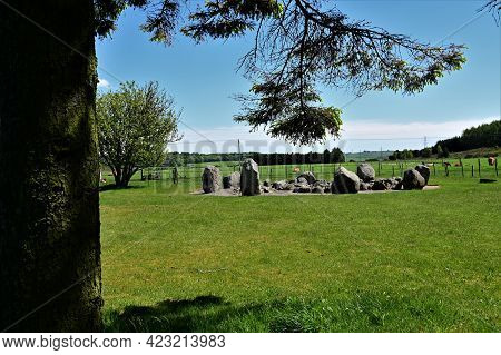 A View Of An Ancient Stone Circle In Cullerlie In Deeside, Scotland.