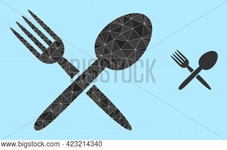 Low-poly Spoon And Fork Icon On A Sky Blue Background. Polygonal Spoon And Fork Vector Filled With R