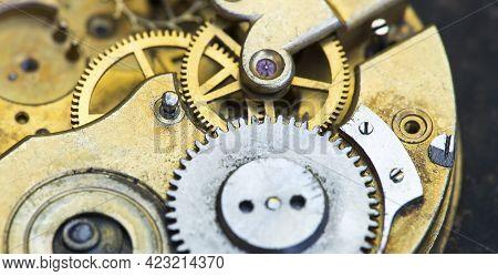 Gears Of A Vintage Metal Business Clock Watch Clockwork, Time Mechanism Banner