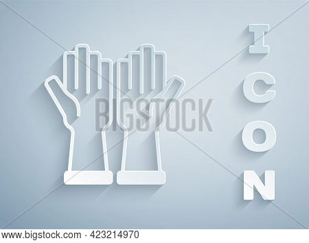 Paper Cut Rubber Gloves Icon Isolated On Grey Background. Latex Hand Protection Sign. Housework Clea