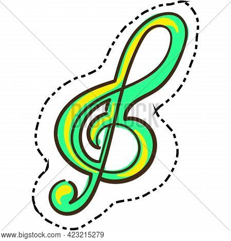 Clef Treble Vector Music Icon Isolated On White Background