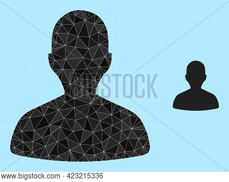 Low-poly Person Profile Icon On A Light Blue Background. Polygonal Person Profile Vector Combined Fr