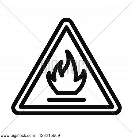 Flammable Icon. Bold Outline Design With Editable Stroke Width. Vector Illustration.