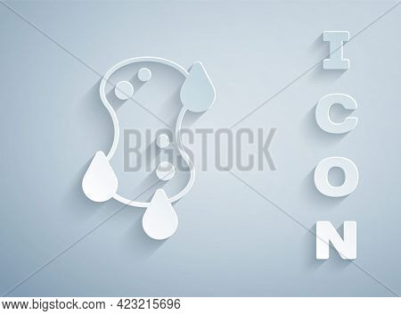 Paper Cut Sponge Icon Isolated On Grey Background. Wisp Of Bast For Washing Dishes. Cleaning Service