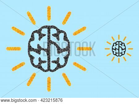 Lowpoly Mind Light Icon On A Sky Blue Background. Polygonal Mind Light Vector Is Combined With Rando