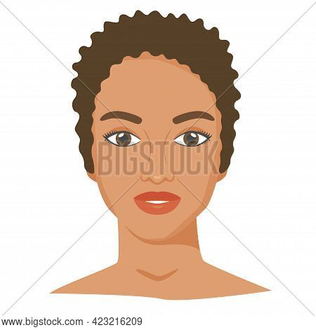 Black Woman Face With Shot Haircut. Female Portrait In Flat Style. Natural Beauty. Front View. Vecto