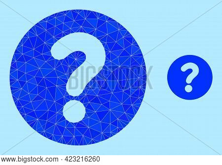 Low-poly Query Icon On A Sky Blue Background. Polygonal Query Vector Designed From Chaotic Triangles