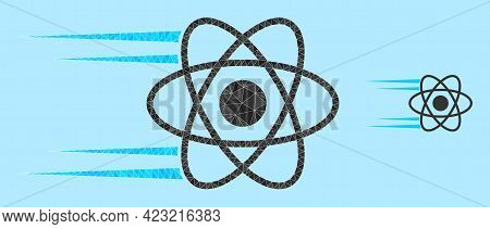 Low-poly Rush Atom Icon On A Light Blue Background. Polygonal Rush Atom Vector Is Designed Of Chaoti