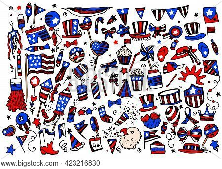 Patriotic Vector Usa. A Hand-drawn Doodle-style Set Of Isolated Items Of Clothing And Food In The Sy