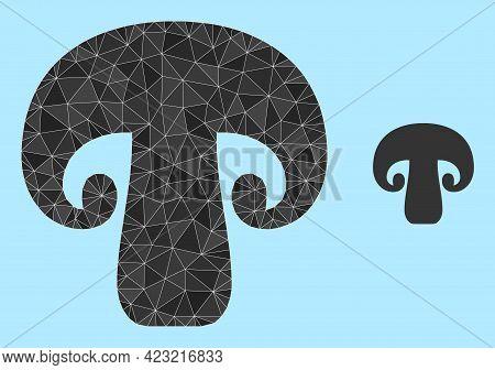 Low-poly Champignon Mushroom Icon On A Sky Blue Background. Polygonal Champignon Mushroom Vector Con