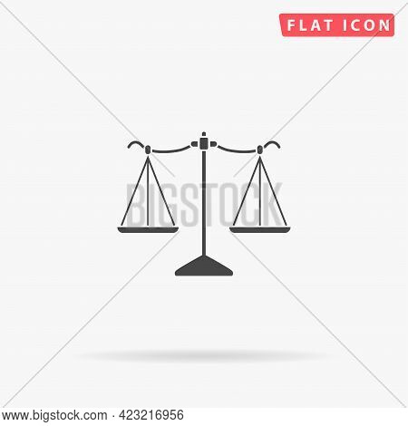 Scales Of Justice Flat Vector Icon. Hand Drawn Style Design Illustrations.