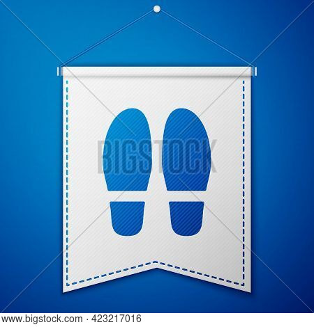 Blue Footsteps Icon Isolated On Blue Background. Detective Is Investigating. To Follow In The Footst