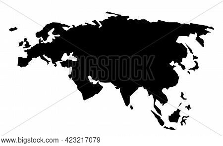 Rough Silhouette Of Europe And Asia, Continent Isolated On White Vector Illustration