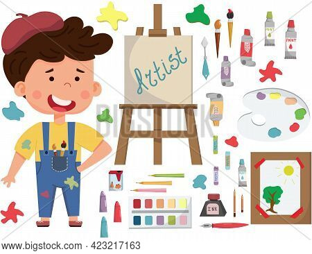 Smiling Artist Boy Painting Picture On Canvas On Easel. Child Art Education. Flat Vector Collection