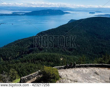 Scenic View Over Rosario Strait From The Watchtower At The Top Of Mount Constitution In Moran State