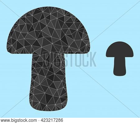 Lowpoly Mushroom Icon On A Sky Blue Background. Polygonal Mushroom Vector Is Combined With Scattered