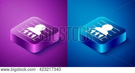 Isometric Suspect Criminal Icon Isolated On Blue And Purple Background. The Criminal In Prison, Susp