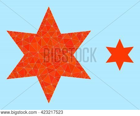 Lowpoly Six Pointed Star Icon On A Sky Blue Background. Polygonal Six Pointed Star Vector Constructe