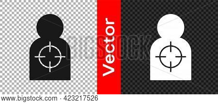 Black Human Target Sport For Shooting Icon Isolated On Transparent Background. Clean Target With Num