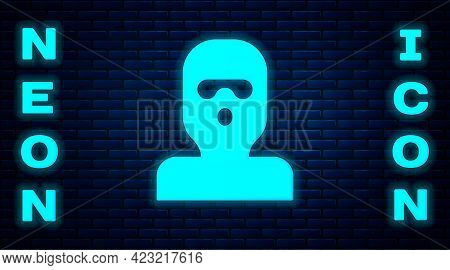 Glowing Neon Thief Mask Icon Isolated On Brick Wall Background. Bandit Mask, Criminal Man. Vector