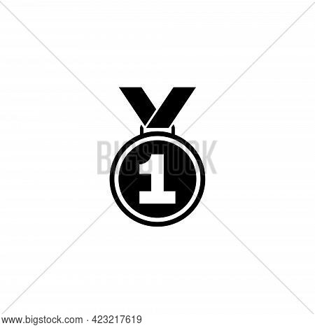 Medal Winner, First Place Award. Flat Vector Icon Illustration. Simple Black Symbol On White Backgro