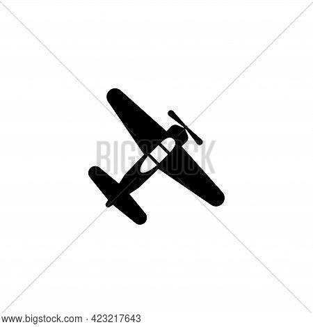 Vintage Plane, Retro Biplane, Old Airplane. Flat Vector Icon Illustration. Simple Black Symbol On Wh