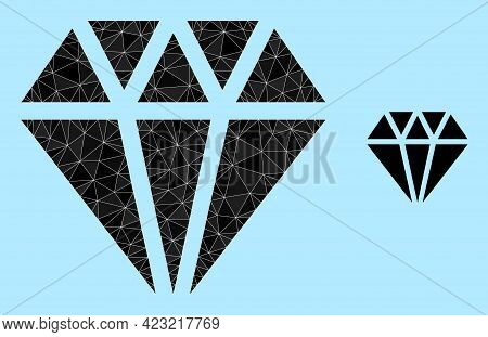 Low-poly Adamant Crystal Icon On A Sky Blue Background. Polygonal Adamant Crystal Vector Filled From