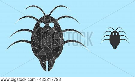 Lowpoly Parasite Icon On A Sky Blue Background. Polygonal Parasite Vector Is Combined Of Chaotic Tri