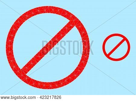 Lowpoly Cancel Icon On A Sky Blue Background. Polygonal Cancel Vector Is Filled Of Random Triangles.