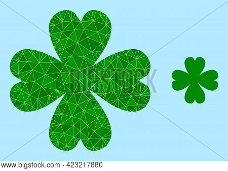 Low-poly Four Leaf Clover Icon On A Light Blue Background. Polygonal Four Leaf Clover Vector Is Desi