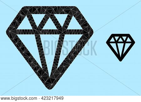 Low-poly Diamond Icon On A Sky Blue Background. Polygonal Diamond Vector Combined Of Scattered Trian