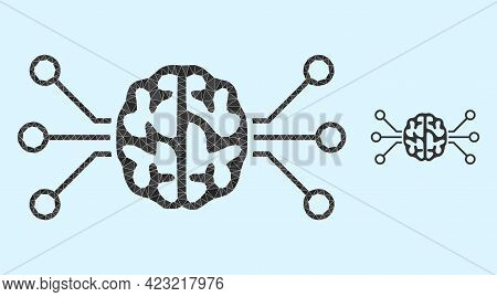Low-poly Brain Circuit Icon On A Light Blue Background. Polygonal Brain Circuit Vector Is Combined W