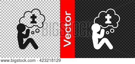 Black Man Graves Funeral Sorrow Icon Isolated On Transparent Background. The Emotion Of Grief, Sadne