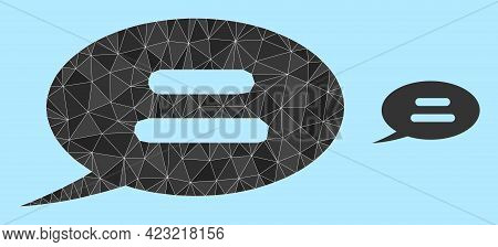 Lowpoly Text Message Icon On A Light Blue Background. Polygonal Text Message Vector Is Designed From