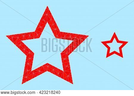 Lowpoly Contour Star Icon On A Light Blue Background. Polygonal Contour Star Vector Is Constructed O