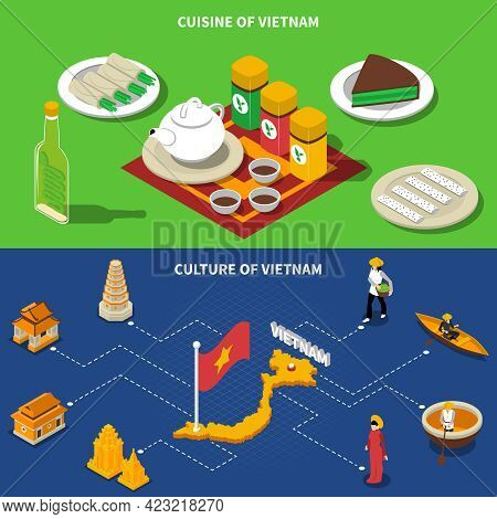 Vietnam Cuisine Culture And Touristic Places Of Interest 2 Isometric Banners With Country Map Isolat