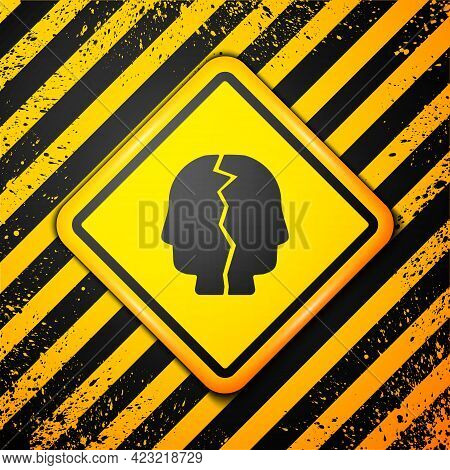 Black Bipolar Disorder Icon Isolated On Yellow Background. Warning Sign. Vector