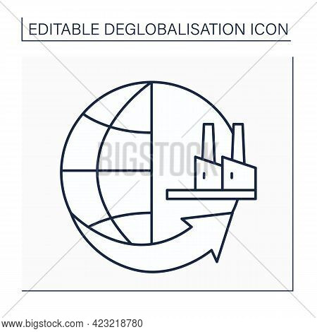 Reshoring Line Icon. Returning Production And Manufacturing Of Goods Back To Company Original Countr