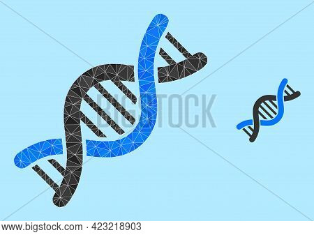 Low-poly Genetic Molecule Icon On A Sky Blue Background. Polygonal Genetic Molecule Vector Designed