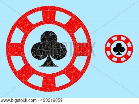 Lowpoly Clubs Casino Chip Icon On A Sky Blue Background. Polygonal Clubs Casino Chip Vector Is Combi